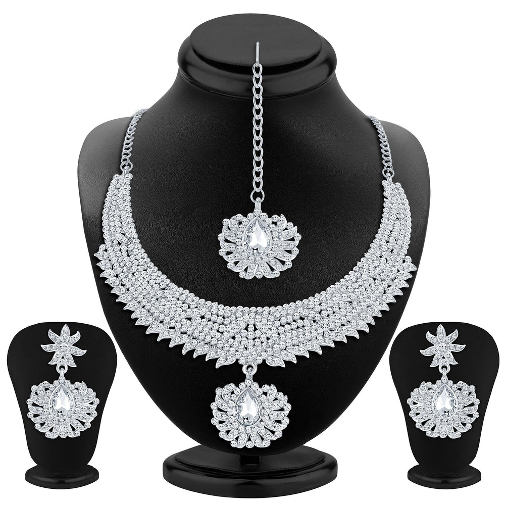 Sukkhi Ethnic Rhodium Plated AD Necklace Set