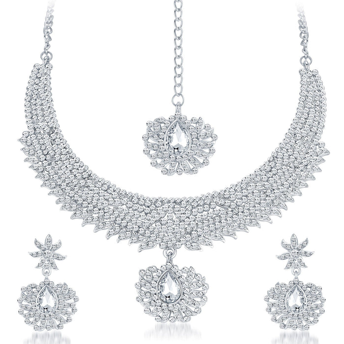 Sukkhi Ethnic Rhodium Plated AD Necklace Set-1
