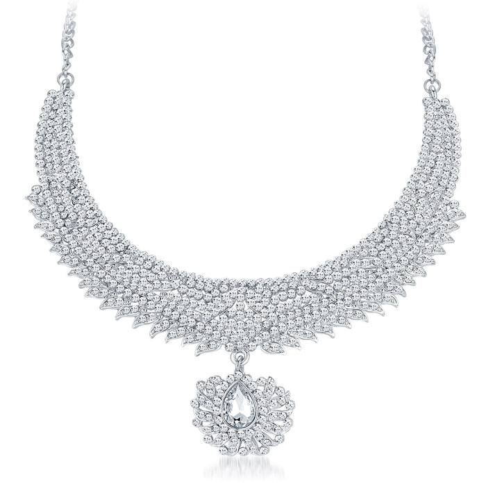 Sukkhi Ethnic Rhodium Plated AD Necklace Set-3