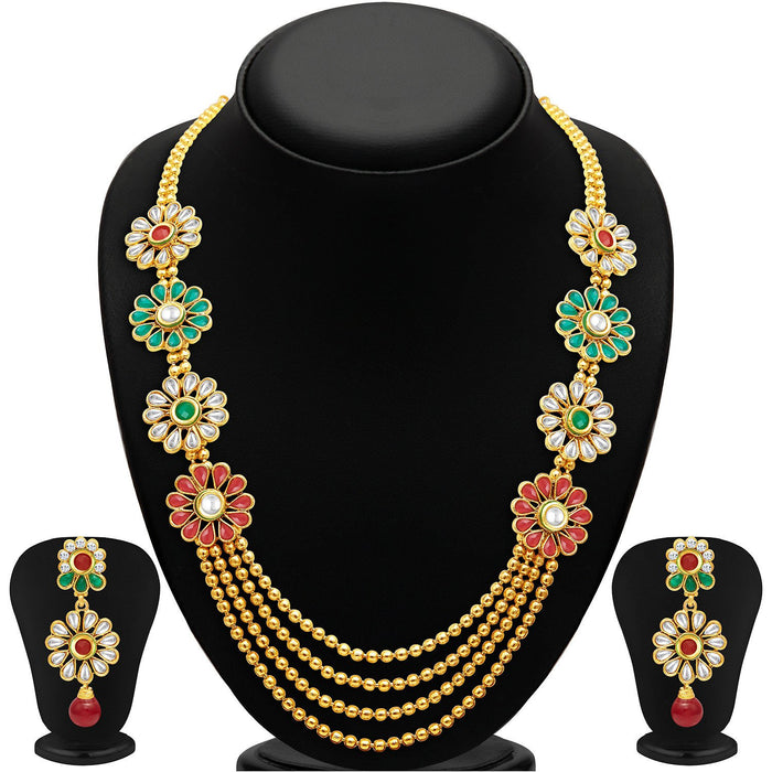 Sukkhi Beguiling Four Strings Gold Plated Necklace Set