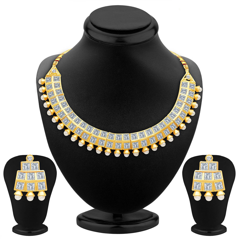 Sukkhi Excellent Gold Plated AD Necklace Set