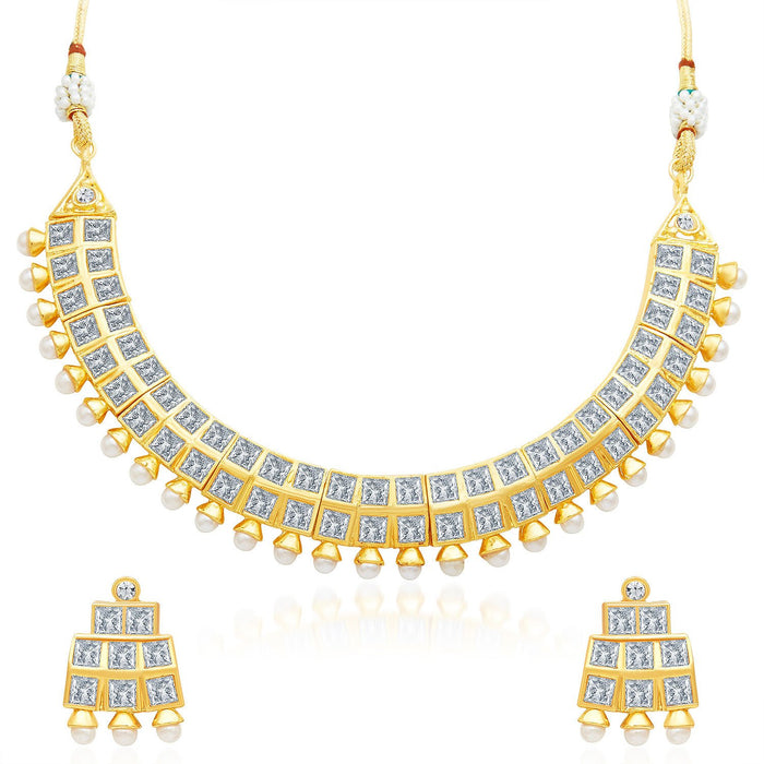 Sukkhi Excellent Gold Plated AD Necklace Set-1