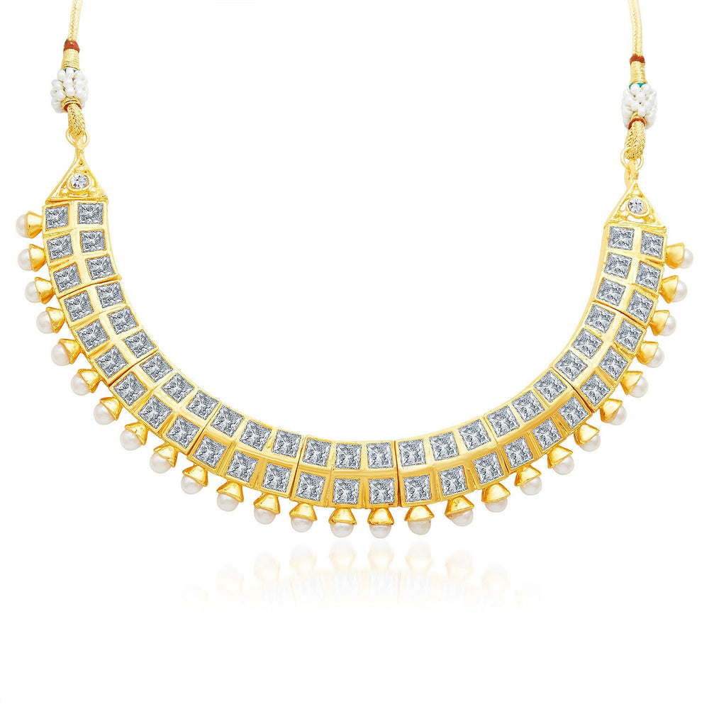 Sukkhi Excellent Gold Plated AD Necklace Set-3