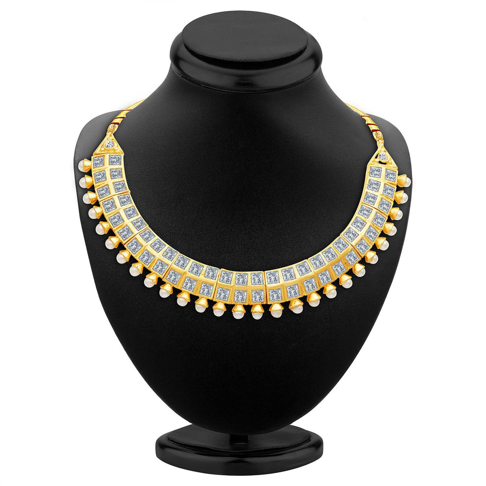 Sukkhi Excellent Gold Plated AD Necklace Set-2