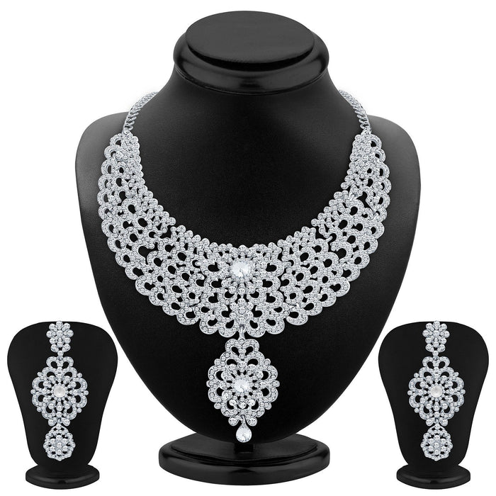 Sukkhi Creative Rhodium Plated AD Necklace Set