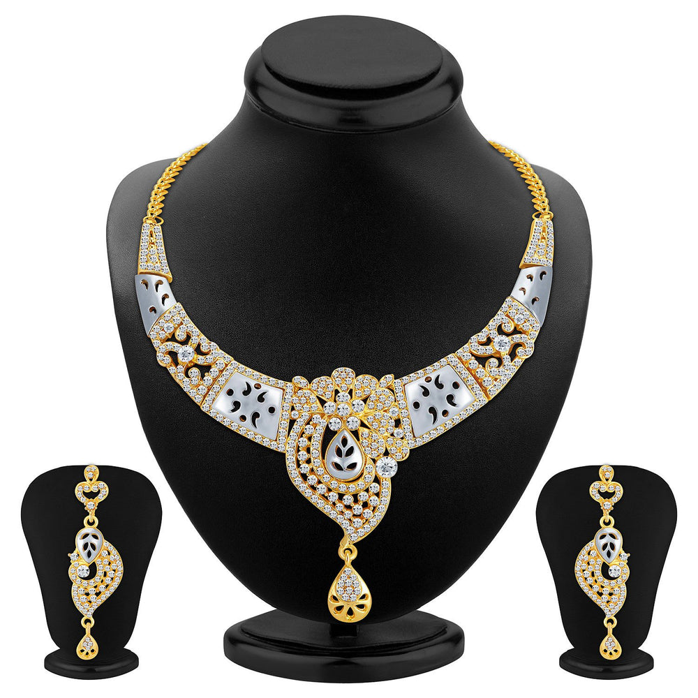Sukkhi Brilliant Gold and Rhodium Plated AD Necklace Set