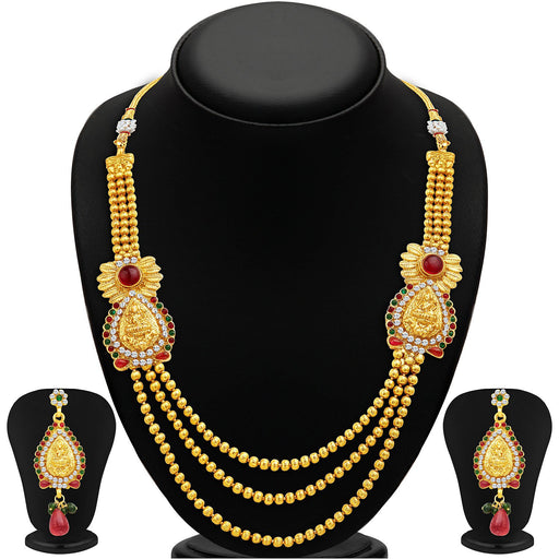Sukkhi Incredible Three Strings Temple Jewellery Gold Plated Necklace Set