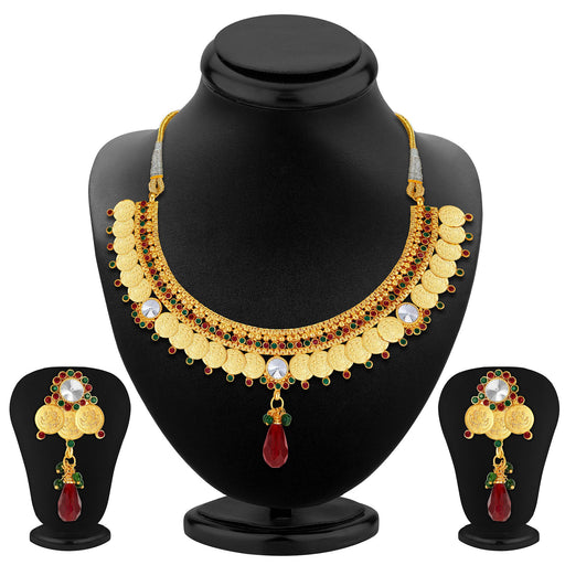 Sukkhi Astonish Gold Plated Temple Jewellery Necklace Set