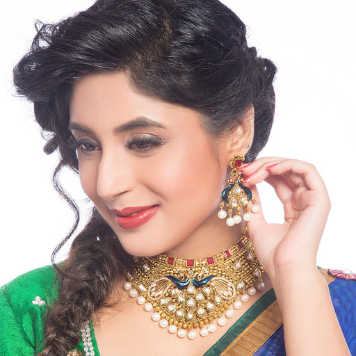 Sukkhi -  Kritika Kamra Ritzzy Gold Plated Kundan Wedding Necklace Set