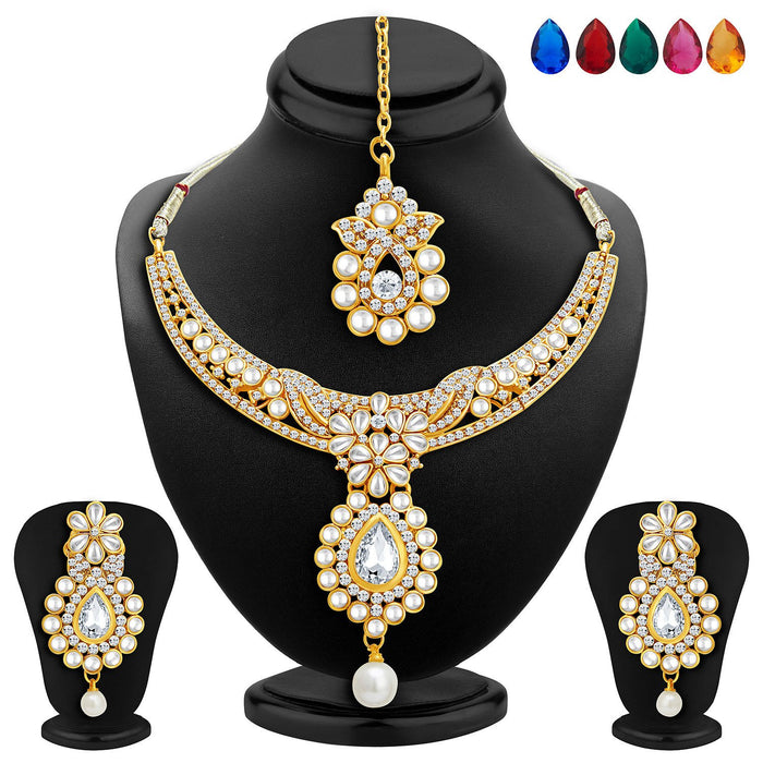 Sukkhi Delightly Gold Plated AD Necklace Set with Set of 5 Changeable Stone