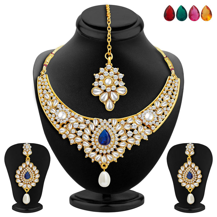 Sukkhi Ethnic Gold Plated AD Set of 2 Necklace Set With Set of 10 Changeable Stone Combo For Women-2