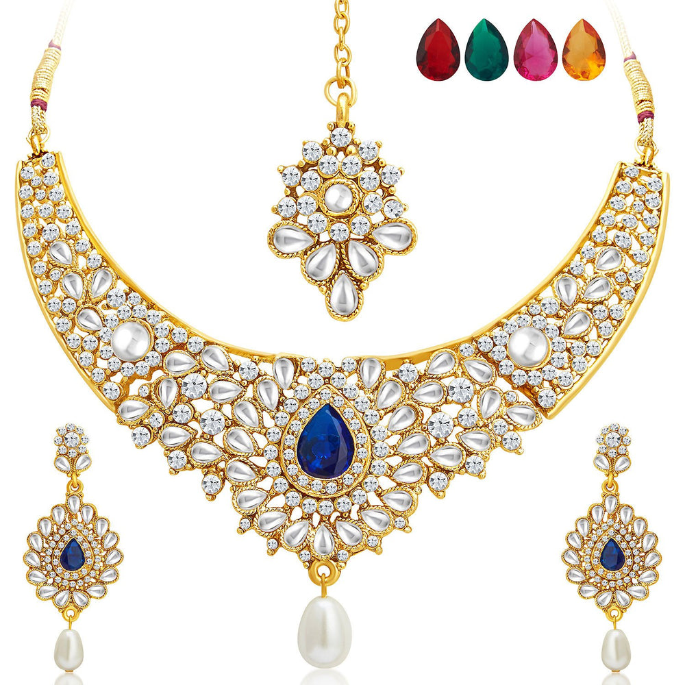 Sukkhi Ethnic Gold Plated AD Set of 2 Necklace Set With Set of 10 Changeable Stone Combo For Women-3