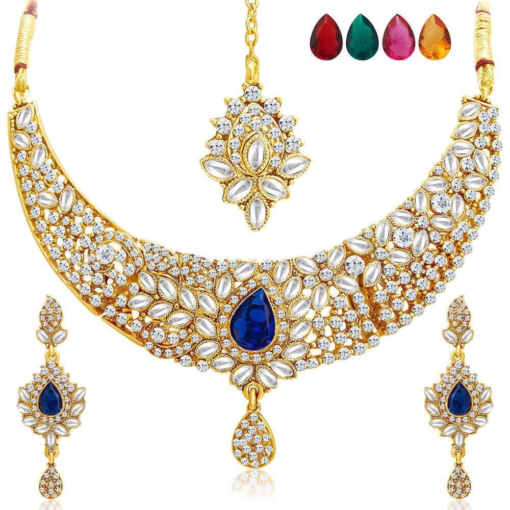 Sukkhi Ethnic Gold Plated AD Set of 2 Necklace Set With Set of 10 Changeable Stone Combo For Women-5