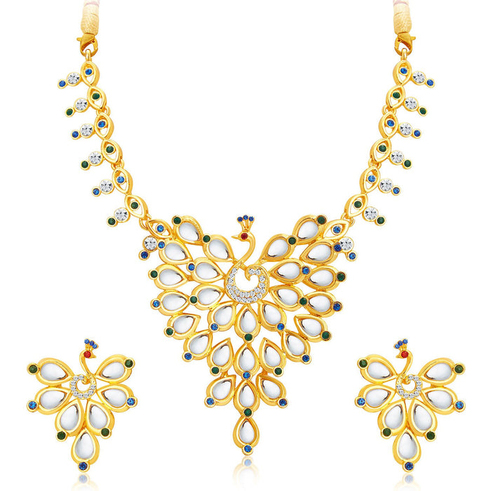 Sukkhi Ethnic Peacock Gold Plated AD Necklace Set For Women-1