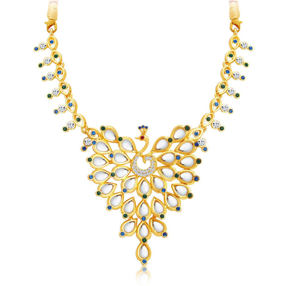 Sukkhi Ethnic Peacock Gold Plated AD Necklace Set For Women-4