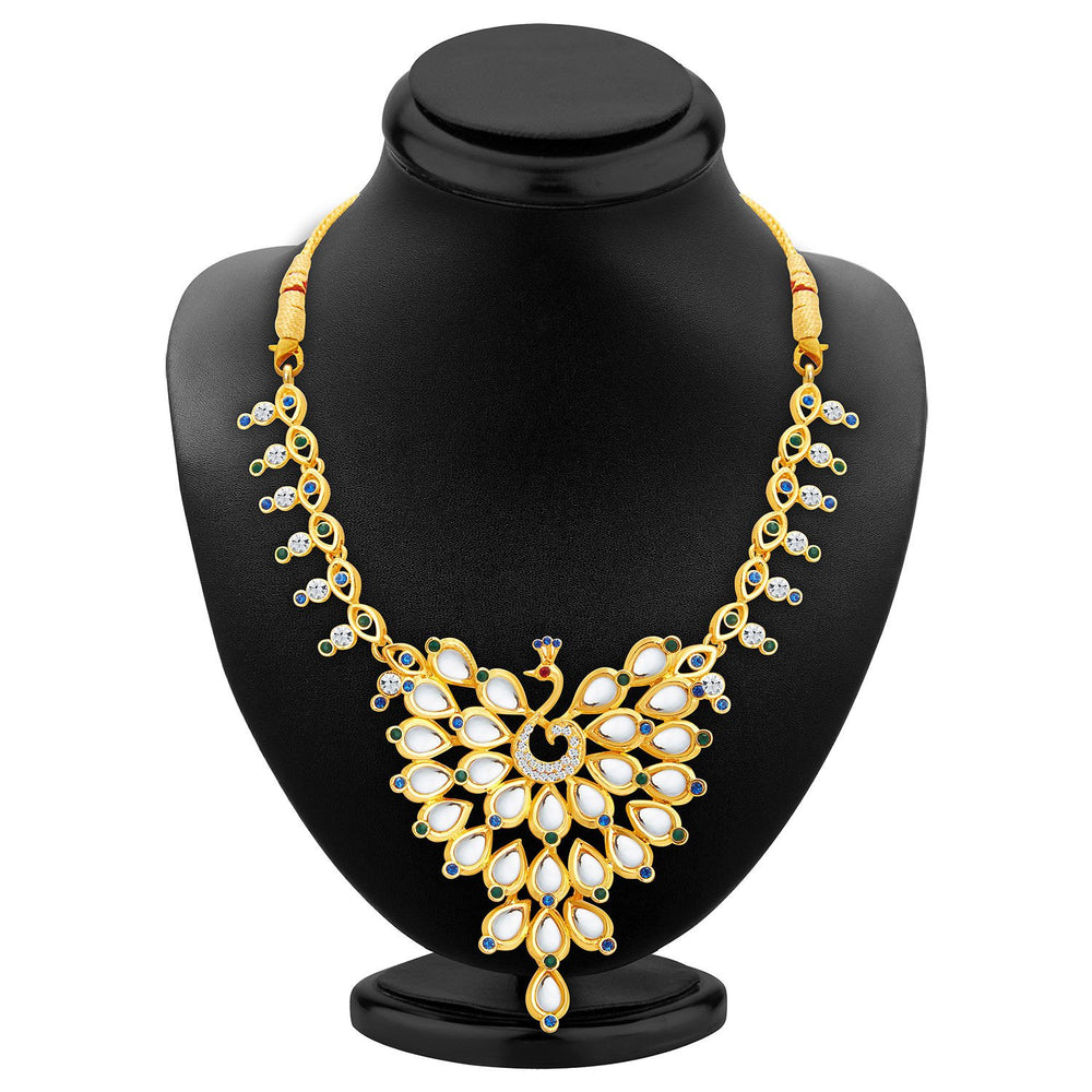 Sukkhi Ethnic Peacock Gold Plated AD Necklace Set For Women-2