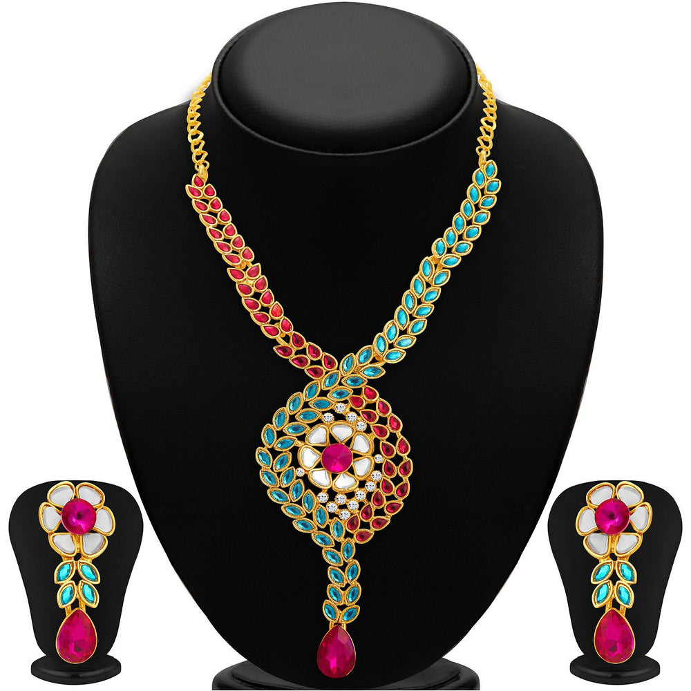 Sukkhi Charming Gold Plated AD Necklace Set For Women