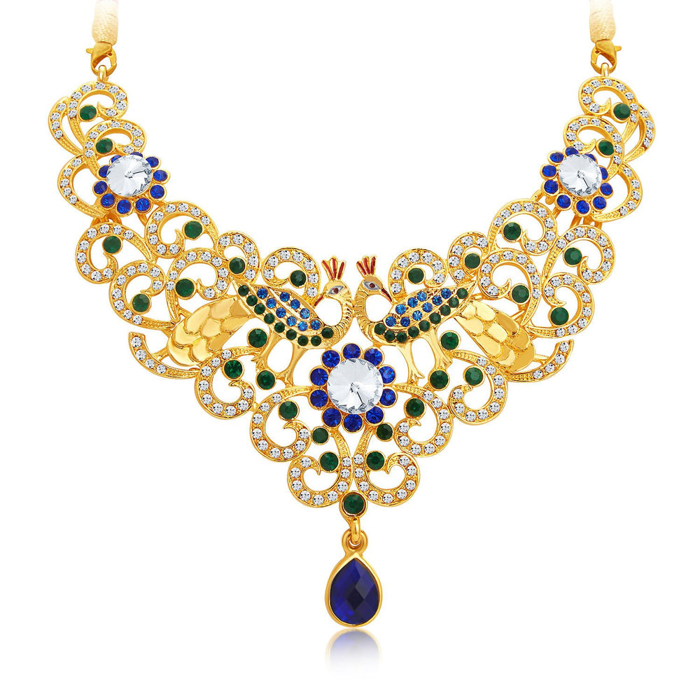 Sukkhi Exquisite Gold Plated AD Necklace Set For Women-4