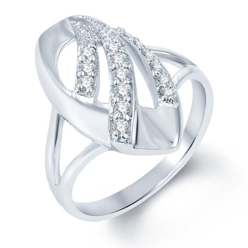 Pissara Ritzzy Rhodium plated CZ Studded Ring