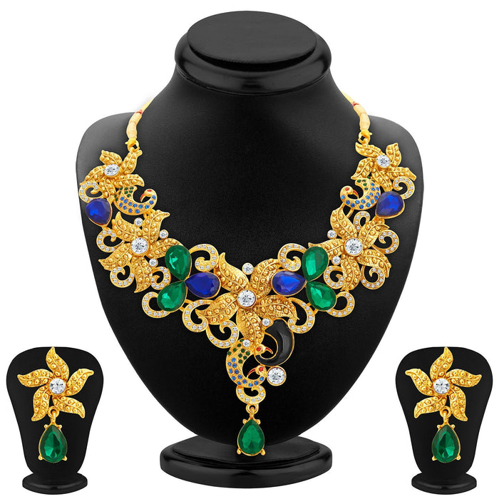 Sukkhi Astonish Gold Plated AD Necklace Set For Women