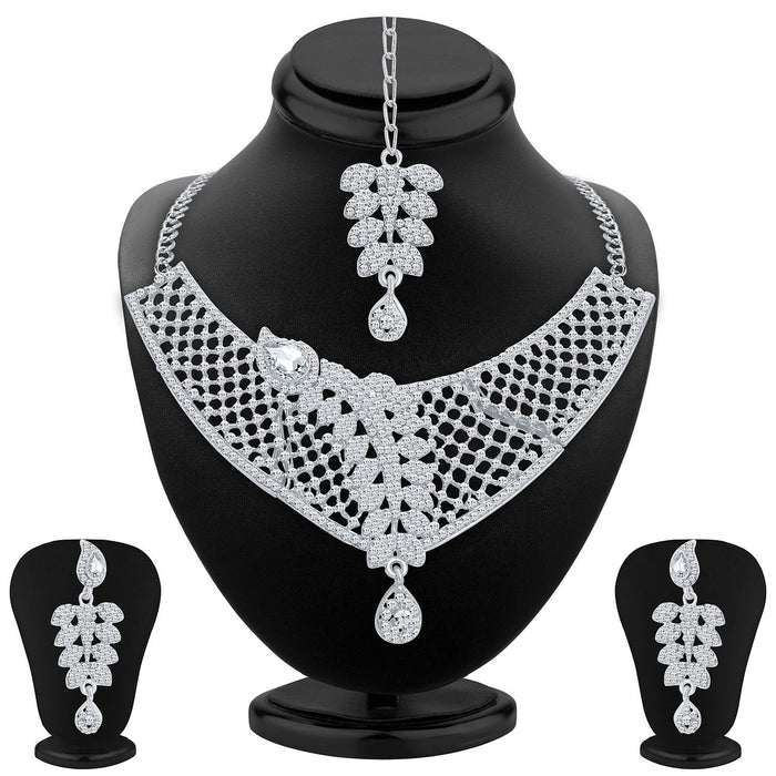 Sukkhi Amazing Rhodium Plated AD Necklace Set For Women