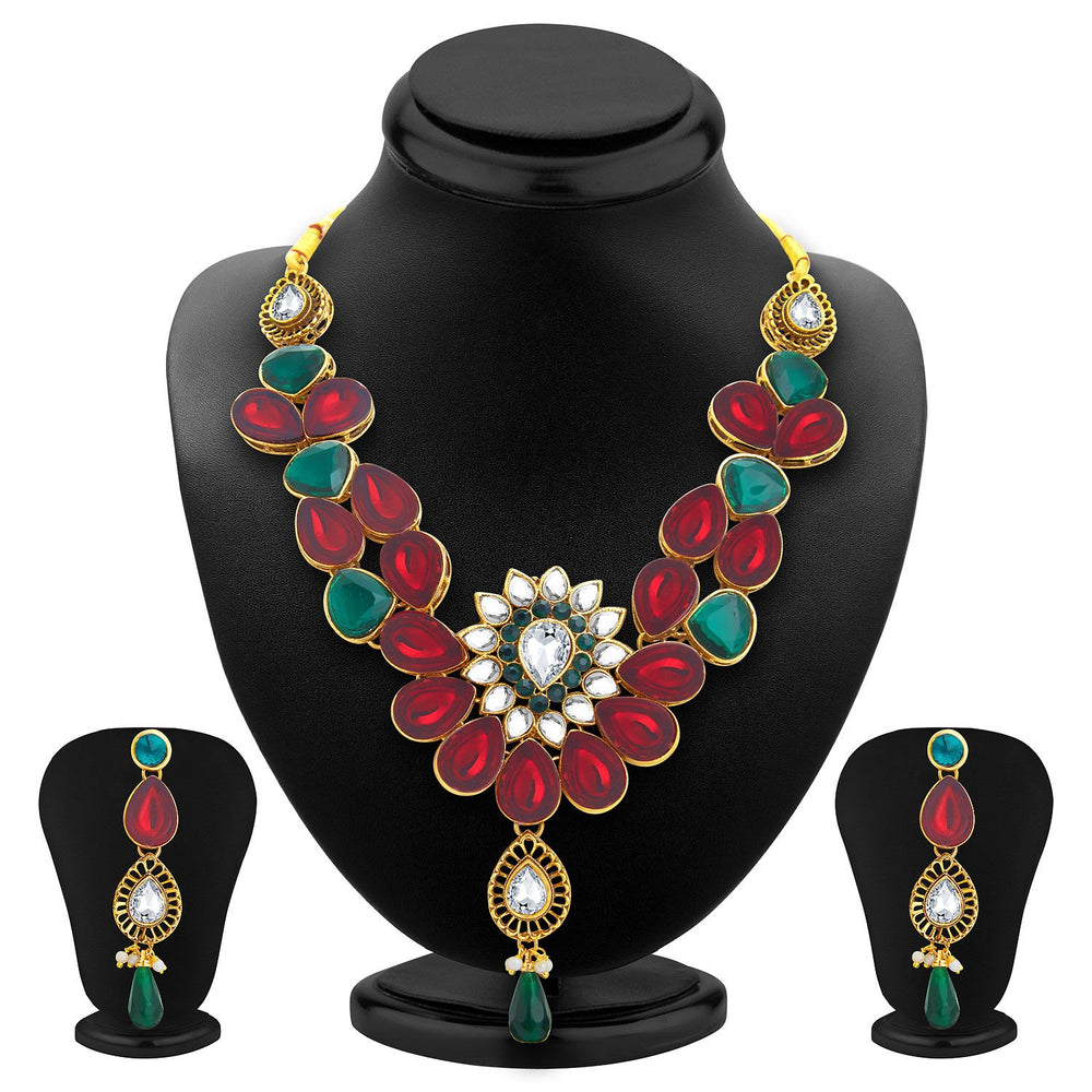 Sukkhi Appealing Gold Plated Kundan Necklace Set For Women