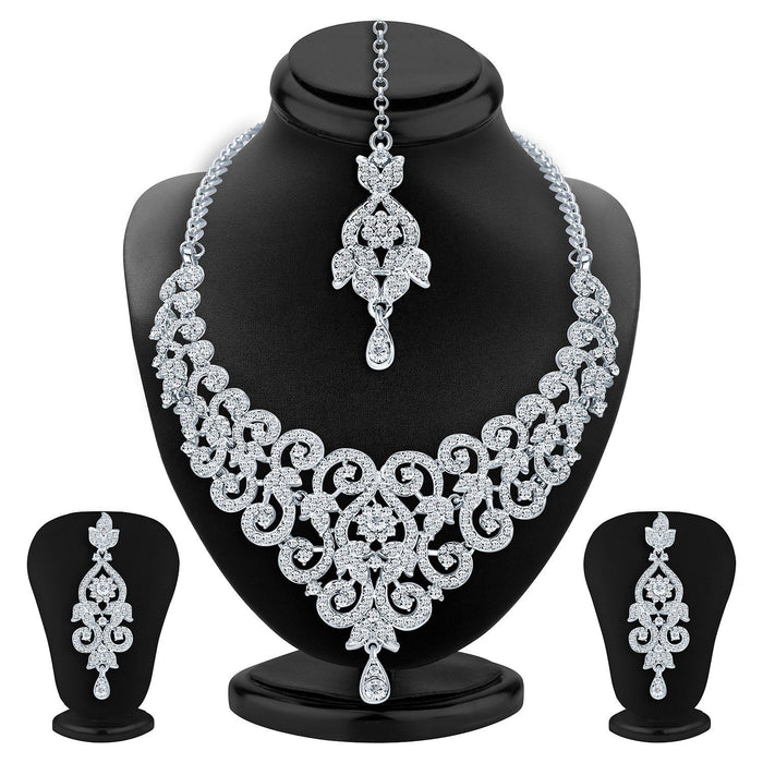 Sukkhi Charming Rhodium Plated AD Necklace Set For Women