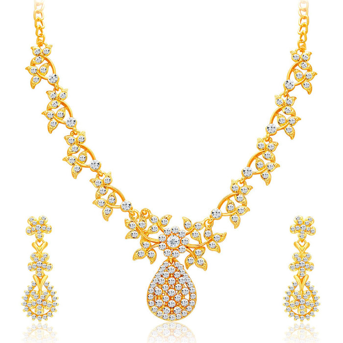 Sukkhi Intricately Gold Plated AD Set of 3 Necklace Set Combo For Women-3