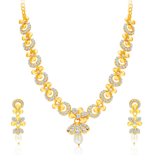 Sukkhi Glittery Gold Plated AD Necklace Set For Women-1