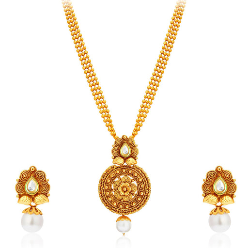 Sukkhi Graceful Gold Plated Kundan Necklace Set For Women-1