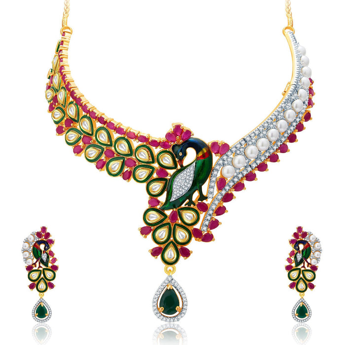 Pissara Superior Peacock Gold And Rhodium Plated Ruby CZ Kundan Neklace Set For Women