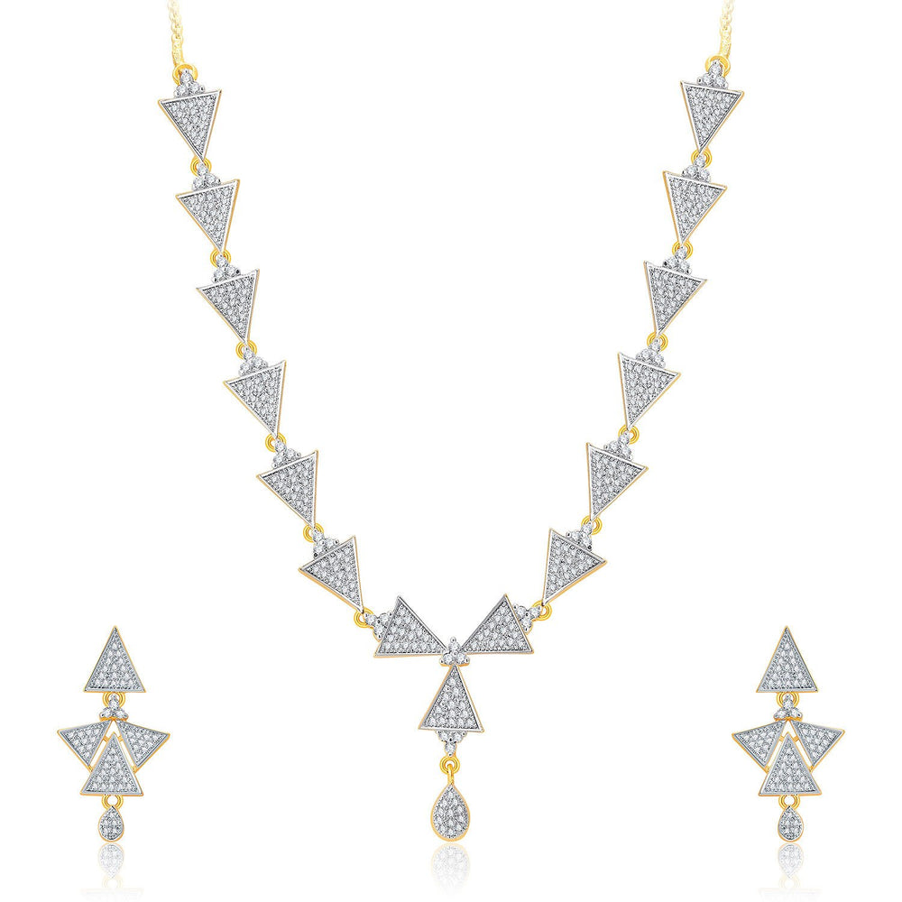 Pissara Trendy Gold And Rhodium Plated CZ Neklace Set For Women