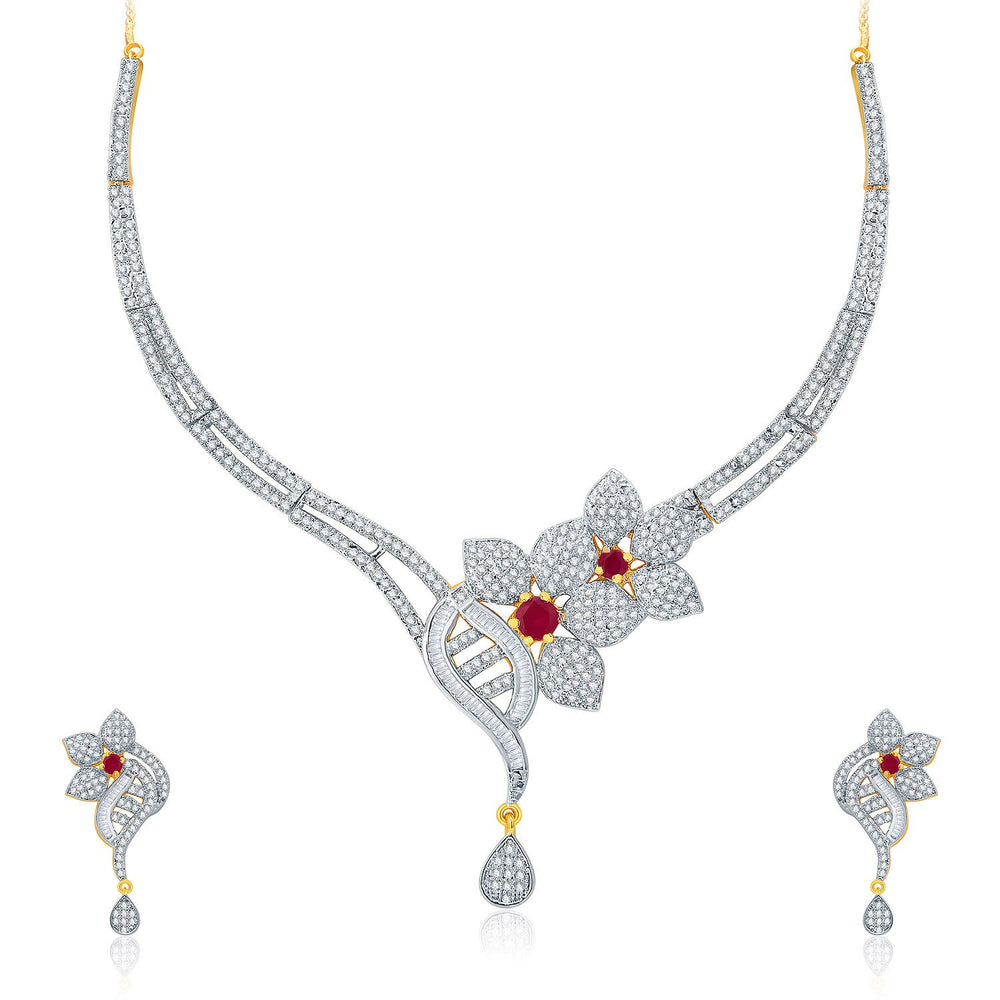 Pissara Fascinating Gold And Rhodium Plated Ruby CZ Neklace Set For Women