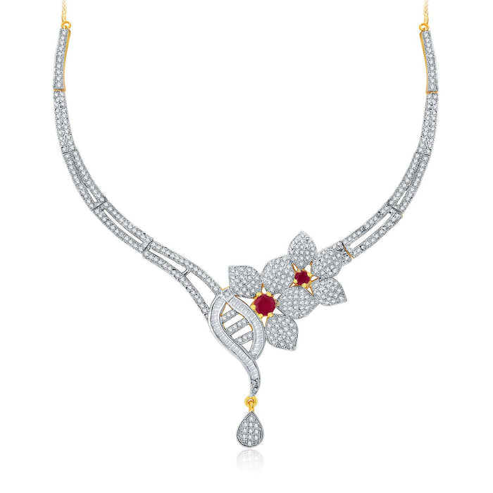 Pissara Fascinating Gold And Rhodium Plated Ruby CZ Neklace Set For Women-1