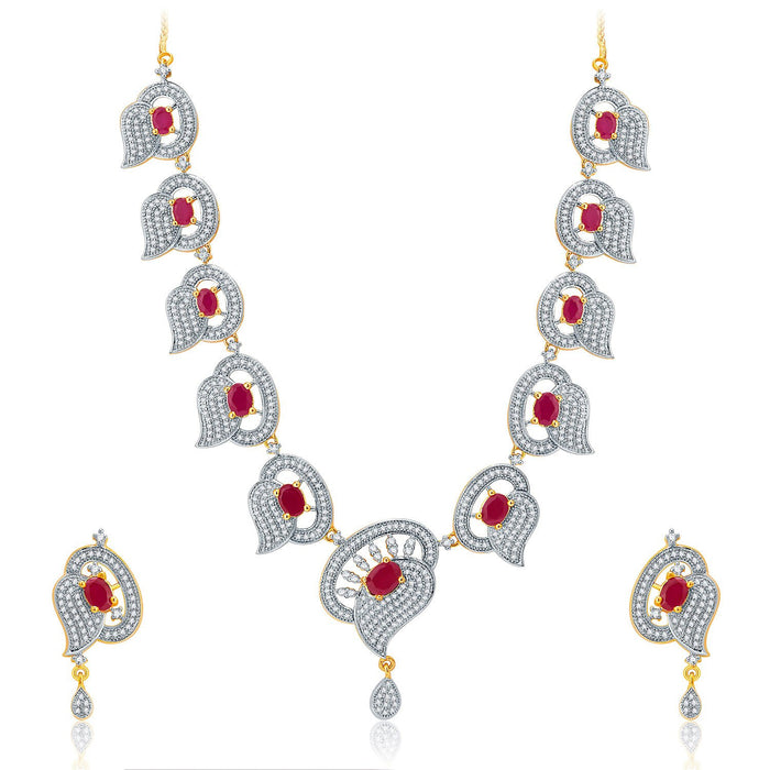 Pissara Luscious Gold And Rhodium Plated Ruby CZ Neklace Set For Women