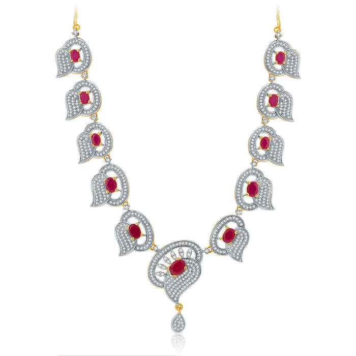 Pissara Luscious Gold And Rhodium Plated Ruby CZ Neklace Set For Women-1