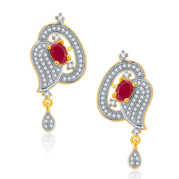 Pissara Luscious Gold And Rhodium Plated Ruby CZ Neklace Set For Women-2