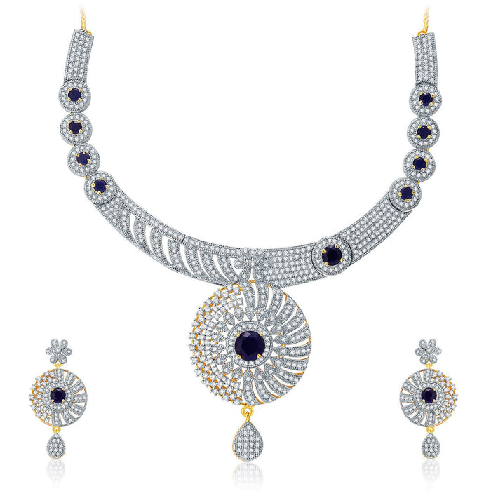Pissara Gleaming Gold And Rhodium Plated CZ Neklace Set For Women