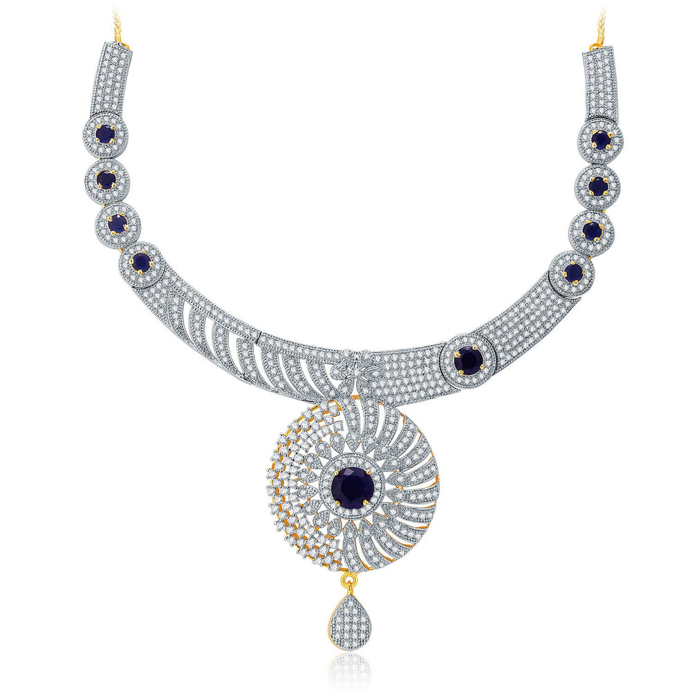 Pissara Gleaming Gold And Rhodium Plated CZ Neklace Set For Women-1