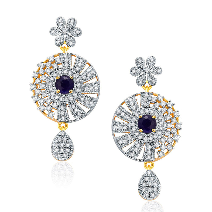 Pissara Gleaming Gold And Rhodium Plated CZ Neklace Set For Women-2
