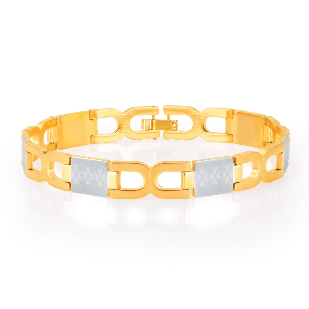 Sukkhi Briliant Gold and Rhodium Plated Bracelet For Men