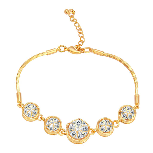 Pissara Fabulous Solitaire Gold Plated CZ Bracelet For Women