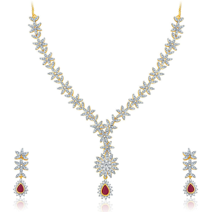 Pissara Winsome Gold And Rhodium Plated Ruby CZ Neklace Set For Women