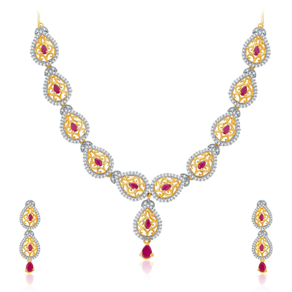 Pissara Majestic Gold And Rhodium Plated Ruby CZ Neklace Set For Women