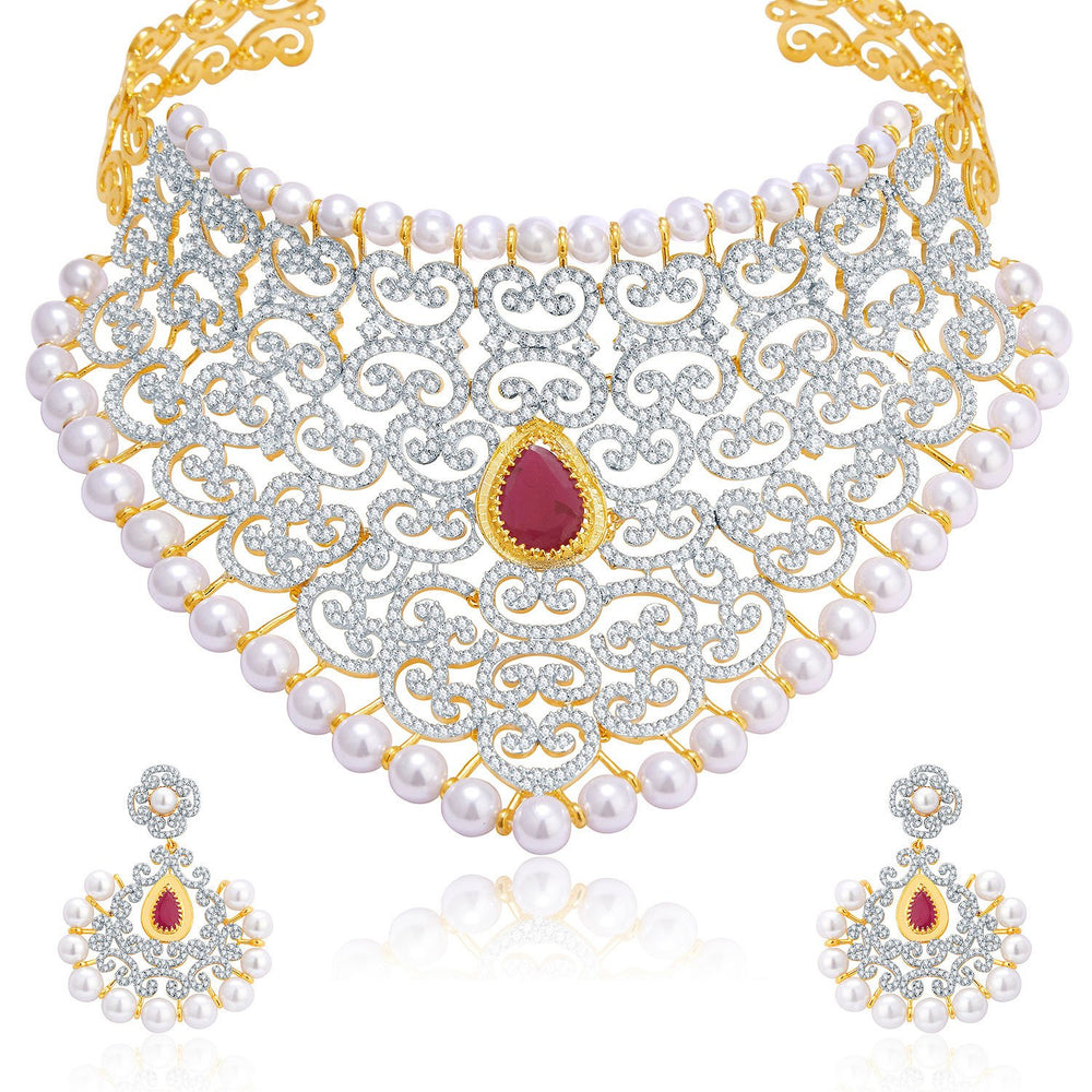 Pissara Luxurious Gold And Rhodium Plated Ruby CZ Neklace Set For Women