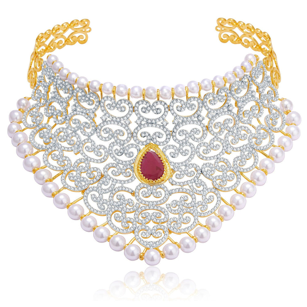 Pissara Luxurious Gold And Rhodium Plated Ruby CZ Neklace Set For Women-1