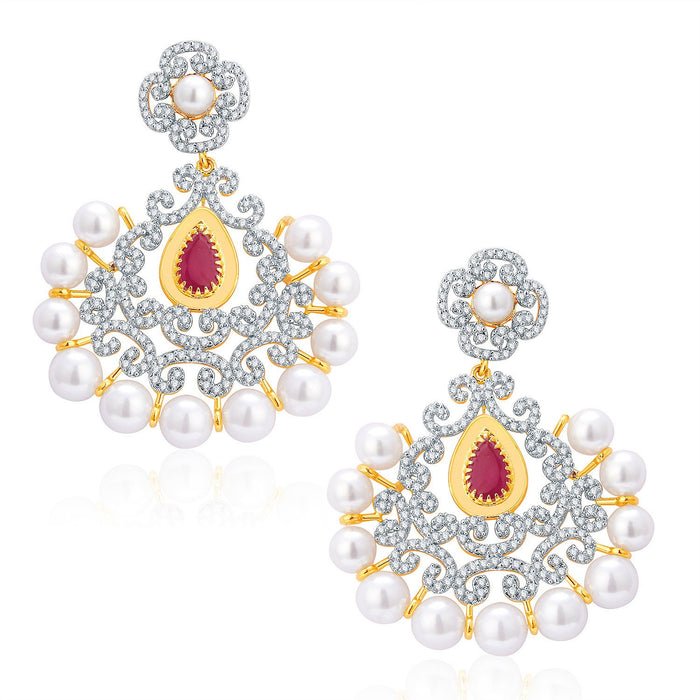 Pissara Luxurious Gold And Rhodium Plated Ruby CZ Neklace Set For Women-2