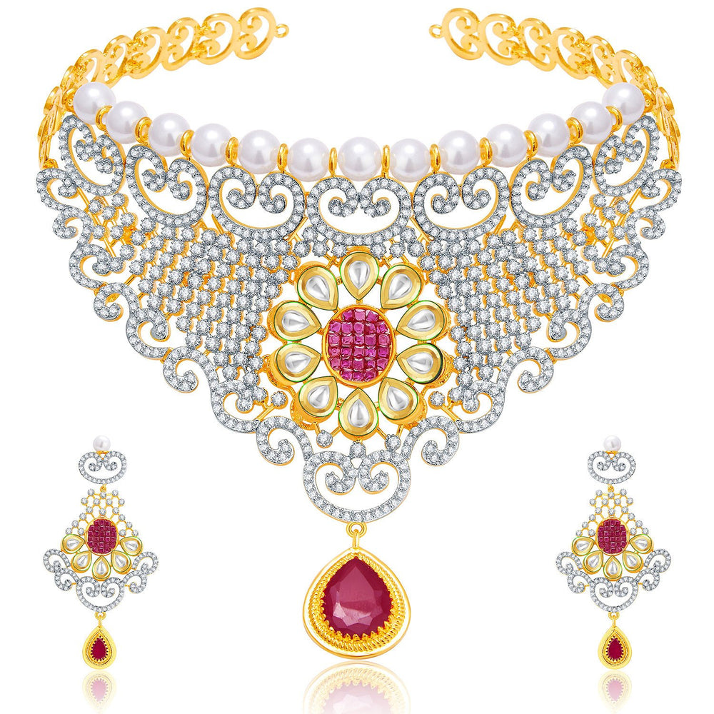 Pissara Wondrous Gold And Rhodium Plated Ruby CZ Kundan Neklace Set For Women