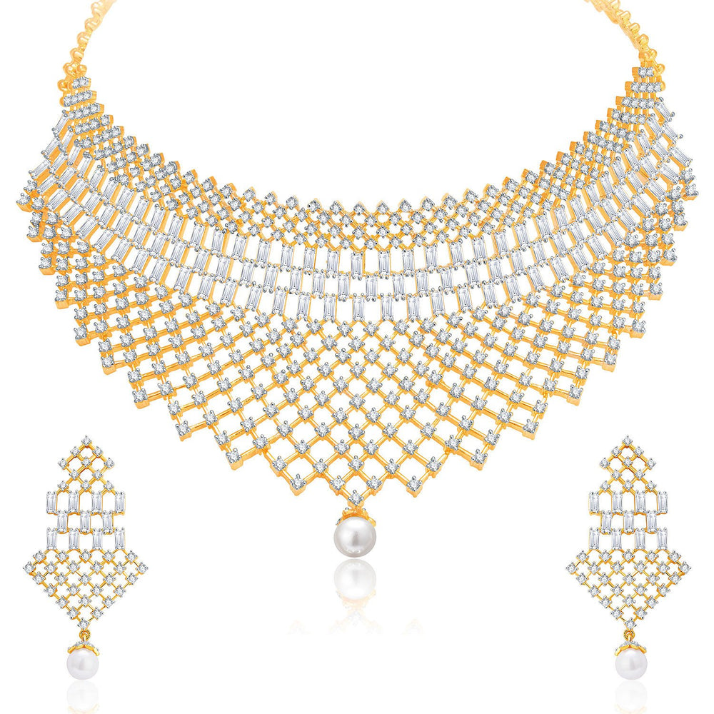 Pissara Glittery Gold And Rhodium Plated CZ Neklace Set For Women