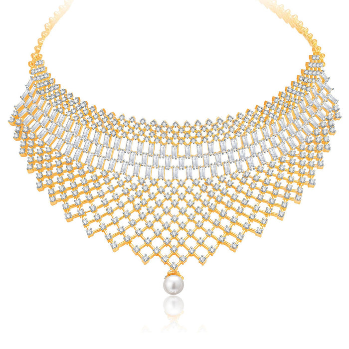 Pissara Glittery Gold And Rhodium Plated CZ Neklace Set For Women-1
